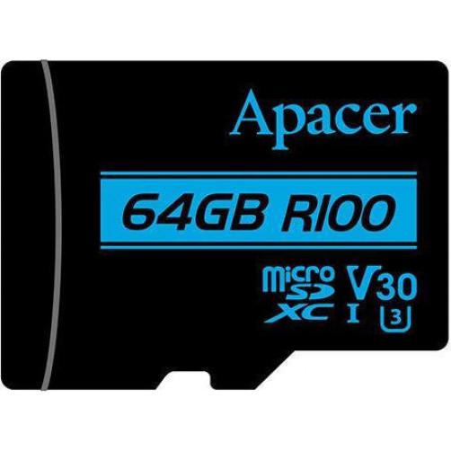 Κάρτες SD/MicroSD APACER V30 R100 64GB Class10 Micro SDXC UHS-I U3