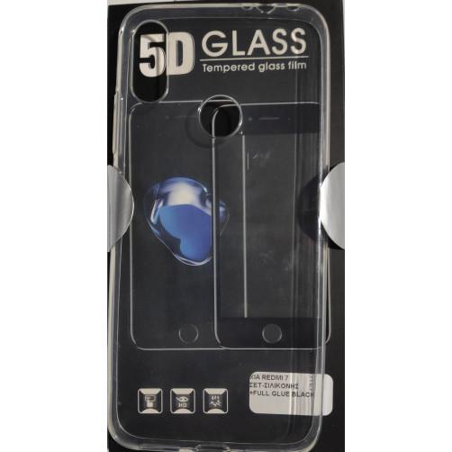 FRIENDS XIAOMI REDMI 7 Set Θήκη σιλικόνης και Full Glue Face Tempered Glass