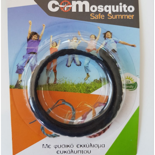 Αντικουνουπικό βραχιολάκι με φυσικο εκχύλισμα ευκάλυπτου COMosquito Safe Summer Μαύρο