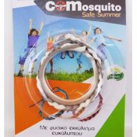 Αντικουνουπικό βραχιολάκι με φυσικο εκχύλισμα ευκάλυπτου COMosquito Safe Summer Λευκό-Ασημί