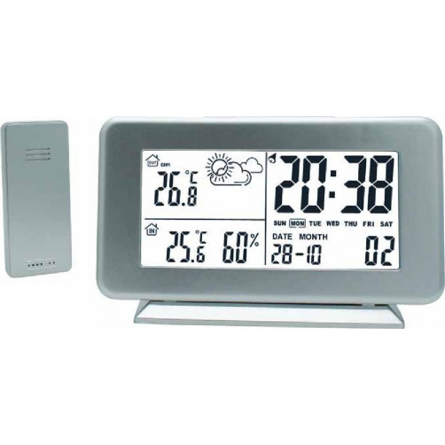 ALFA Μετεωρολογικός Σταθμός Επιτραπέζιος Με Ρολόι Μέτρηση Εξωτερικής Θερμοκρασίας Silver - 600116